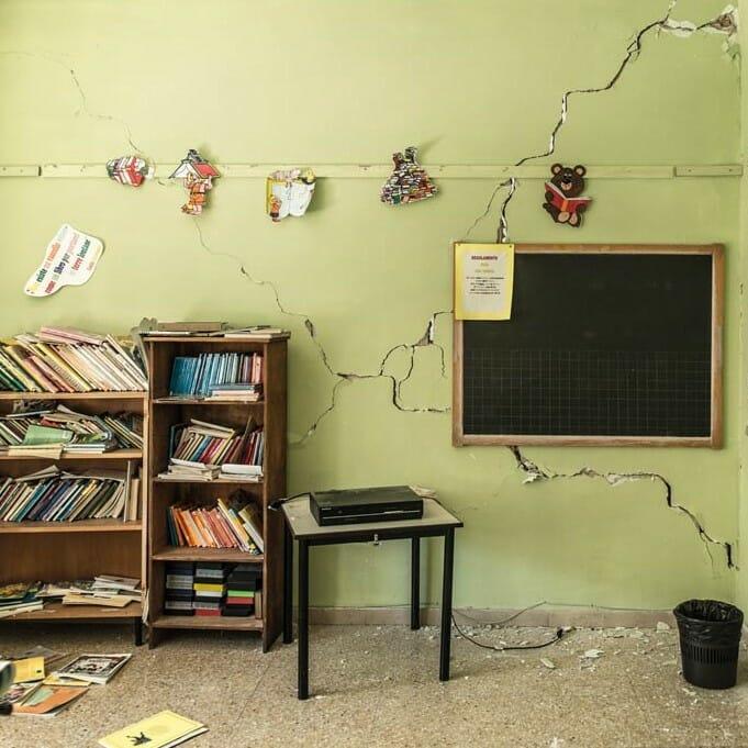 Classroom Damaged by Earthquake